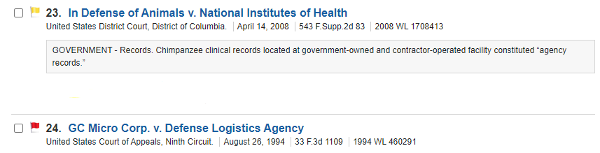 Search results list showing cases with red and yellow flags