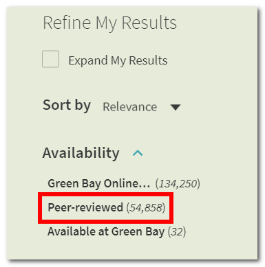 Click on Peer-reviewed under Refine My Results