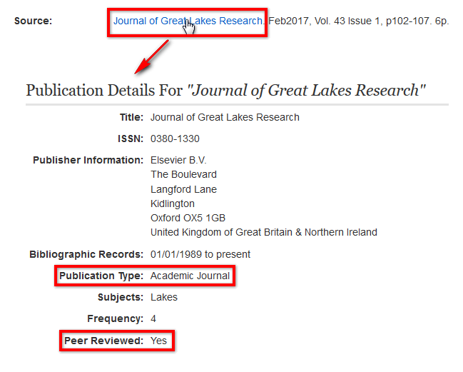 Screenshot shows clicking on a journal's title in Environment Complete goes to a publication details page showing that it is an academic journal that is peer reviewed