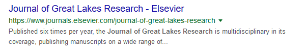 Google results for Journal of Great Lakes Research, stating that it is published six times per year and is multidisciplinary