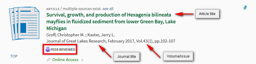 Record showing the title of the article and journal, the volume and issue, and a peer reviewed icon