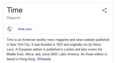 "Google results box for Time that says ""Time is an American weekly news magazine and news website"""