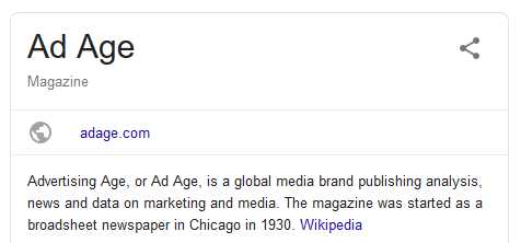 Google search result describing Advertising Age as a media brand publishing news on marketing and media