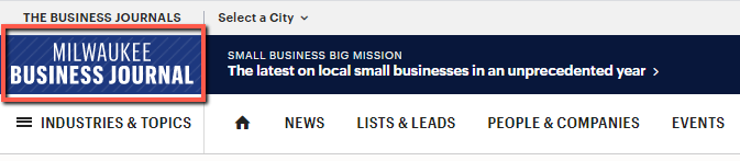 screenshot of the Milwaukee Business Journal logo in the upper left corner