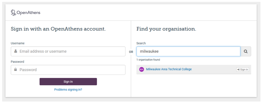 screenshot of Find your organization box