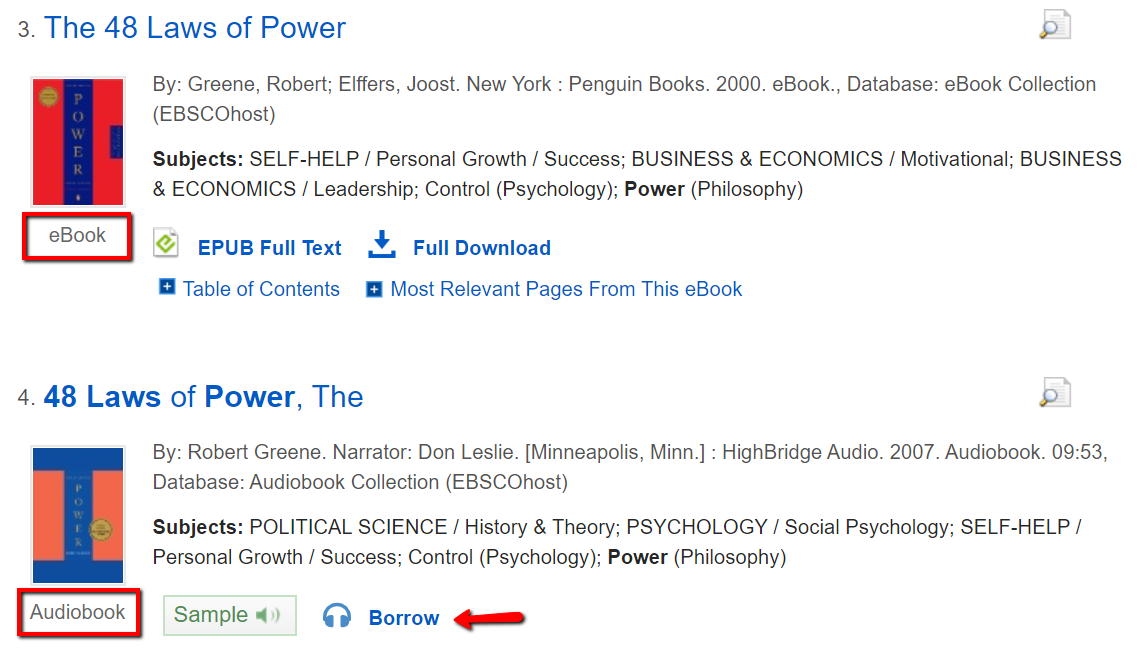 screenshot of audiobook in search results of a One Search