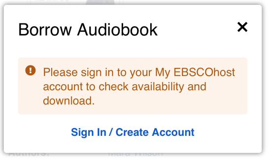 screenshot to borrow audiobook and sign in