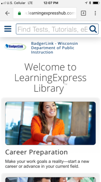 screenshot of homepage of Learning Express