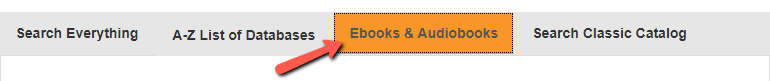 Screenshot of the Ebooks & Audiobooks tab
