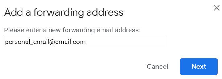 screenshot add a forwarding address