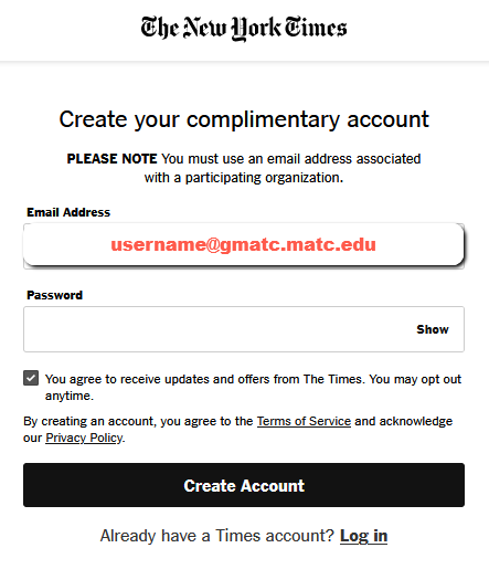 Screenshot to sign up with your school email address