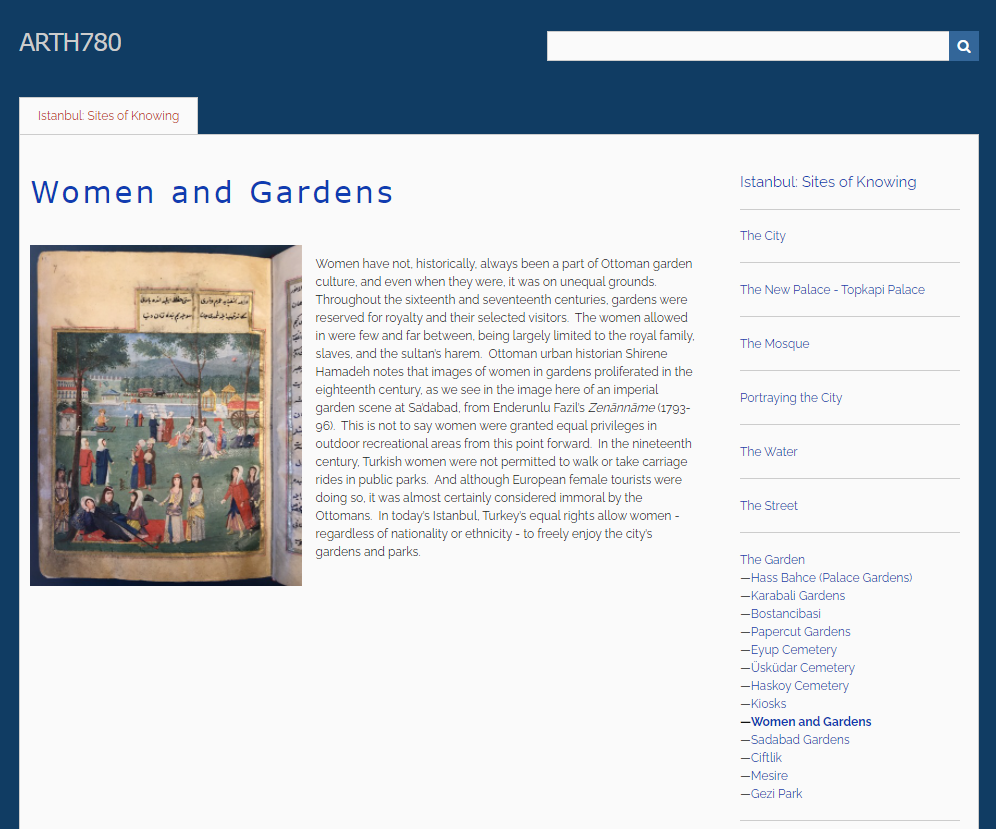 "Screen shot of ""Women and Gardens"" page with image from online Istanbul exhibit"