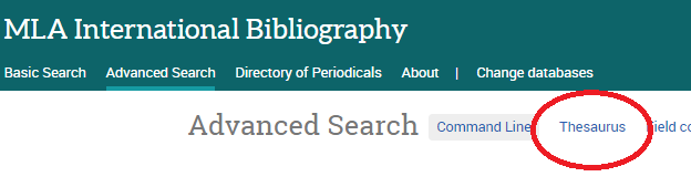 Image of MLA International Bibliography's advanced search with Thesaurus marked