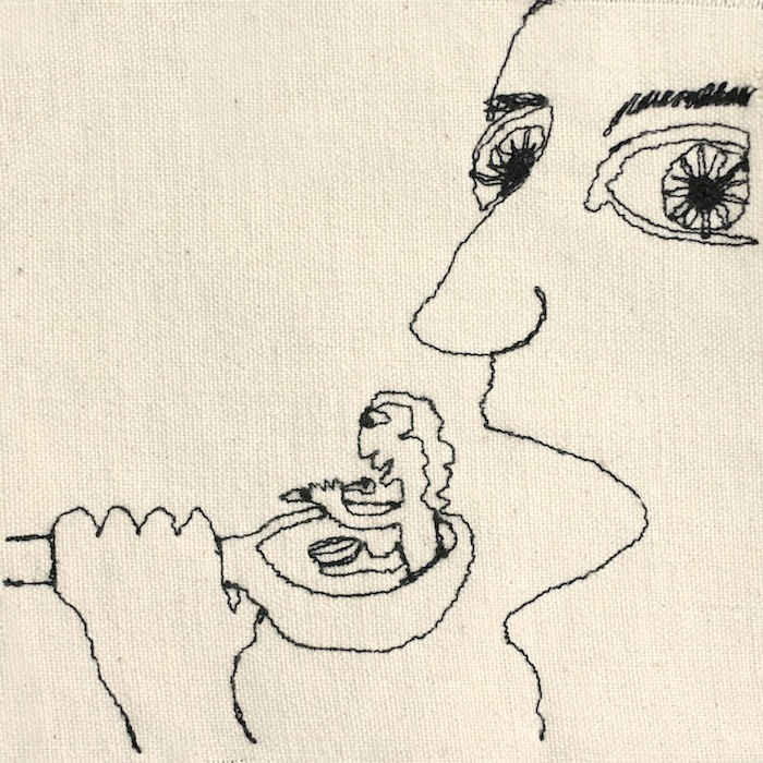 drawing on cloth of a face eating a spoonful of  another person eating a spoonful