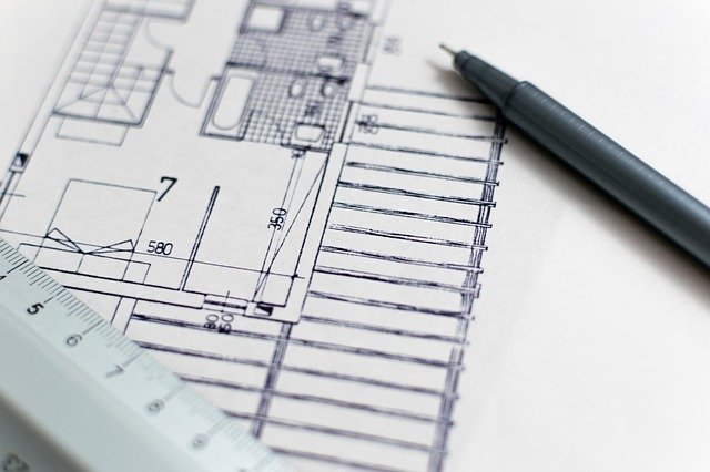 architectural blueprint with pen and ruler by Lorenzo Cafaro from Pixabay