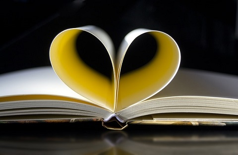 photo of open book with pages folded into a heart