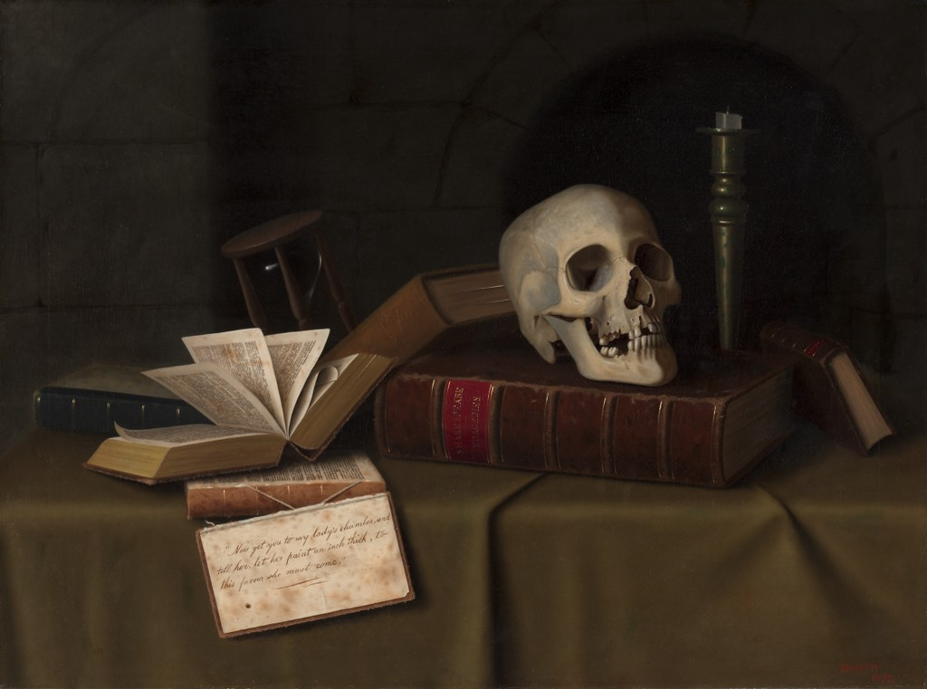 """Memento Mori, """"To This Favour"""", William Michael Harnett, 1879, collection of The Cleveland Museum of Art, Creative Commons license"""