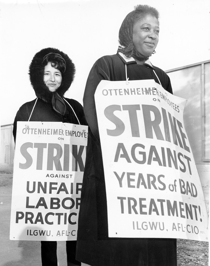 women on strike 1966 photograph, ILGWU photographs collection Cornell University