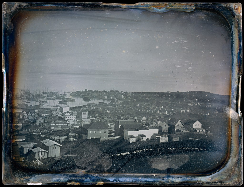 Daguerreotype image of San Francisco, ca. 1850; collection of The Metropolitan Museum of Art