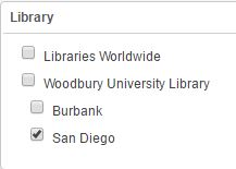 Library filter in catalog; San Diego is currently selected in image