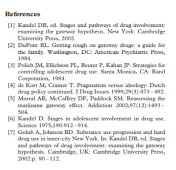 peer-reviewed reference list