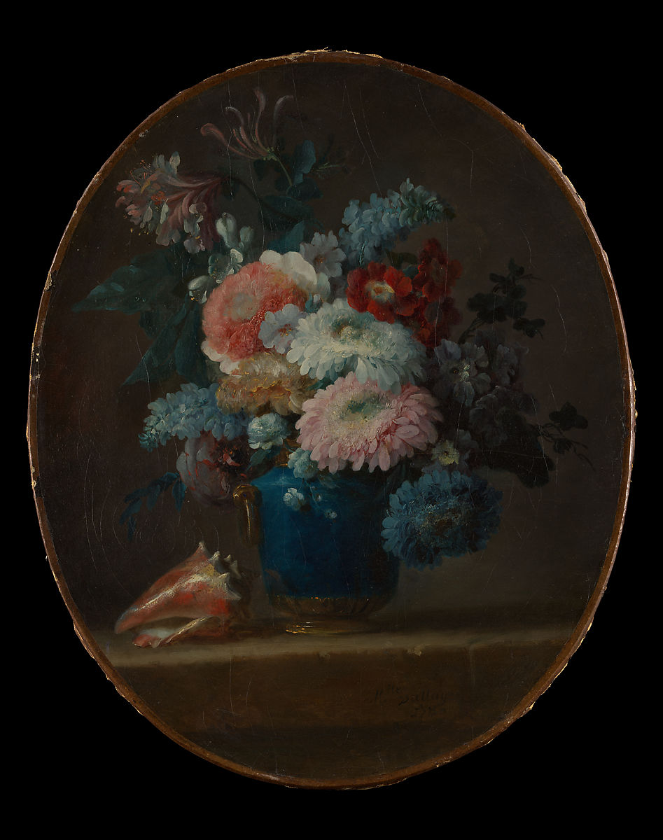 Vase of Flowers and Conch Shell by Anne Vallayer-Coster