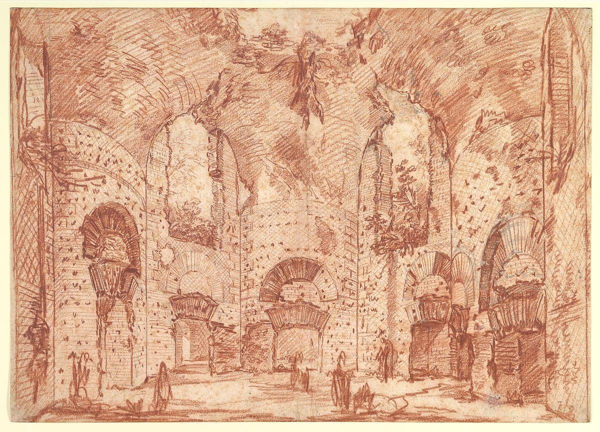 The Octagonal Room in the Small Baths at the Villa of Hadrian (Tivoli) by Giovanni Battista Piranesi