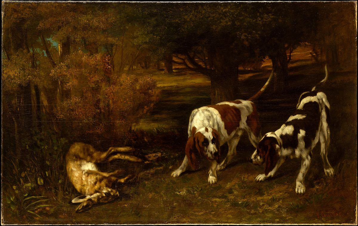 Hunting Dogs with Dead Hare by Gustave Courbet