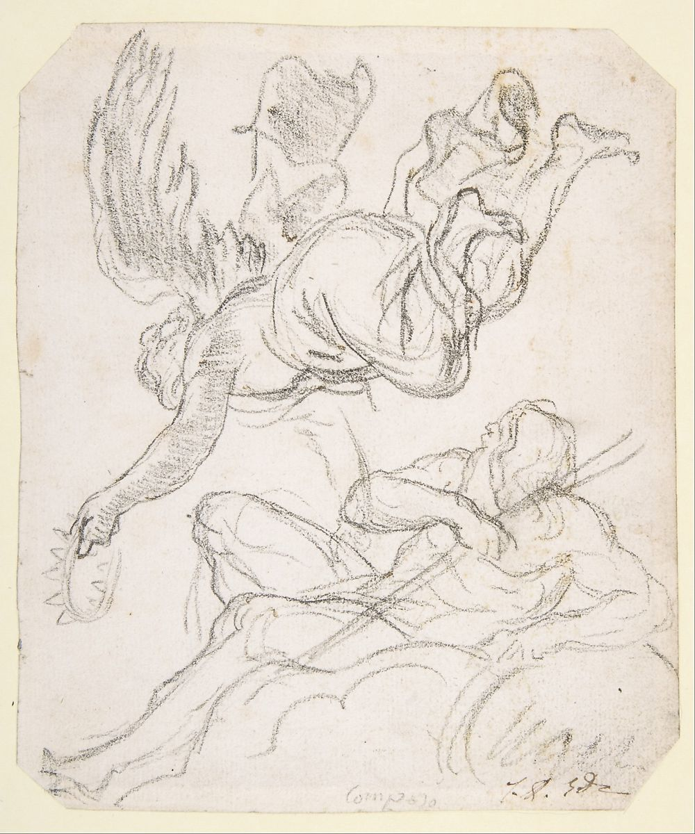 Flying Figure Holding a Crown, Reclining River God by Jacques Louis David
