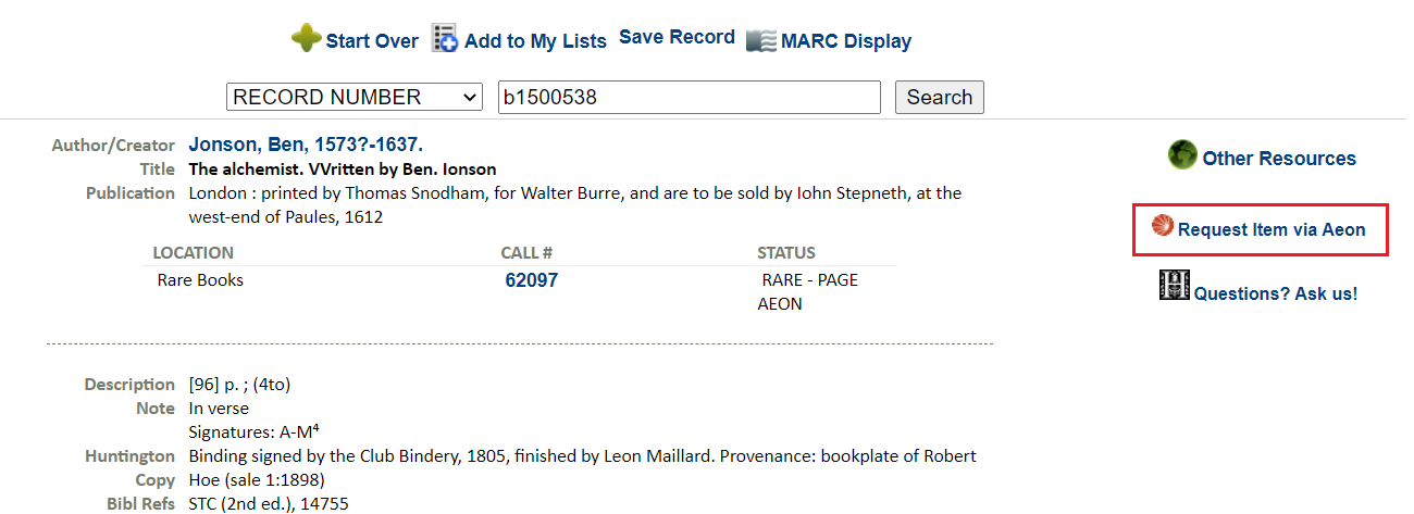 Request item via Aeon link in library catalog record.