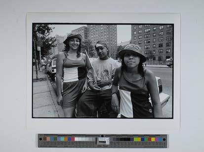 Three people on street