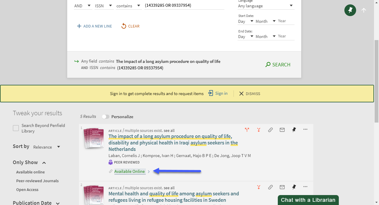 Screenshot of a search result from a specific journal