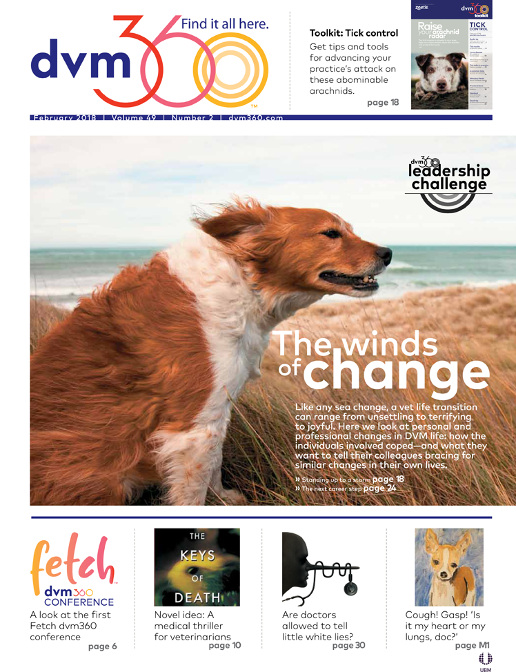 The front page of the February 2018 issue of dvm360 magazine