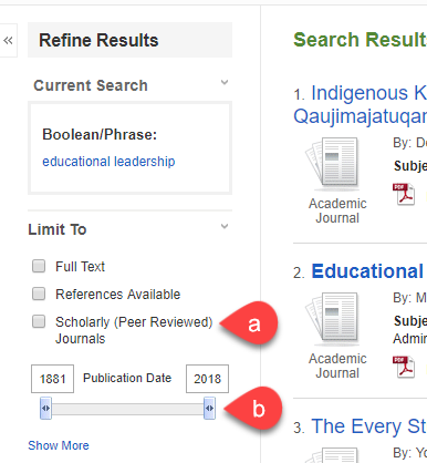 Screenshot of Education Source, showing Ebsco's Refine Results