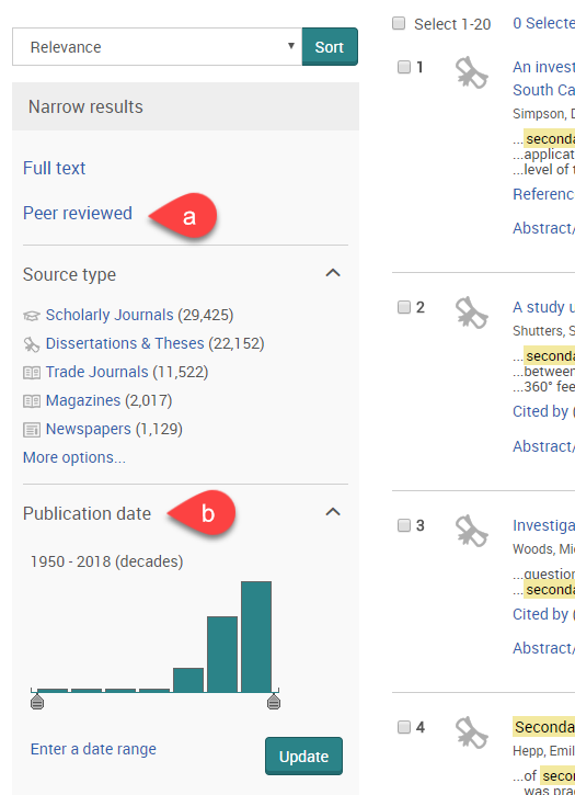 Screenshot of Proquest search results page, with focus on 'Narrow results' sidebar