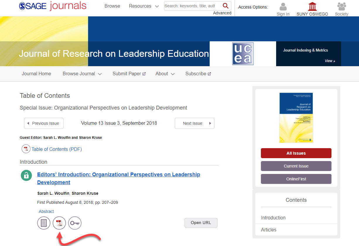 Screenshot of Journal of Research on Leadership Education page on SAGE Journals, with arrow pointing toward a PDF icon