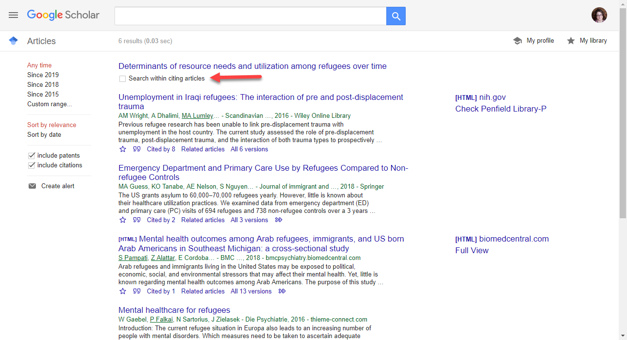 Screenshot of Google Scholar search results