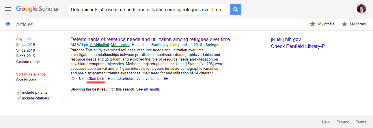 Google Scholar search with red line underneath 'Cited by' text
