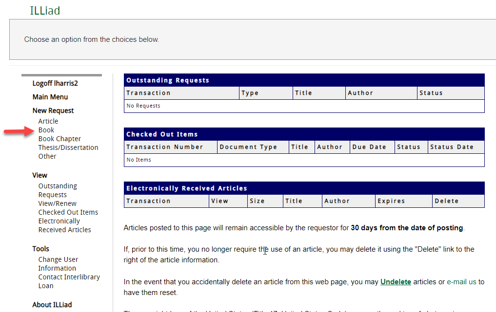 Screenshot of main screen of ILLiad web tool, with red arrow pointing to the word Book