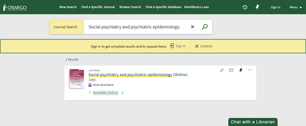 Screenshot of search results from journal title search