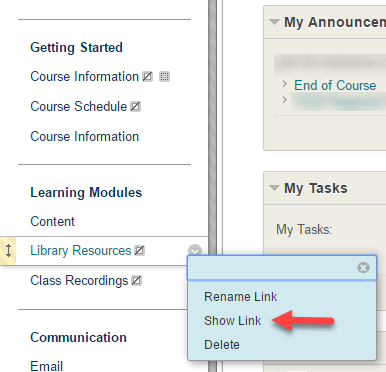 Screenshot of Library Resources link in Blackboard