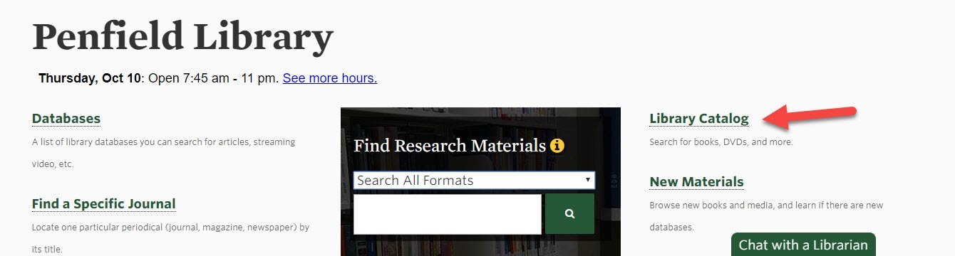 Screenshot of the library homepage with an arrow pointing toward the library catalog link