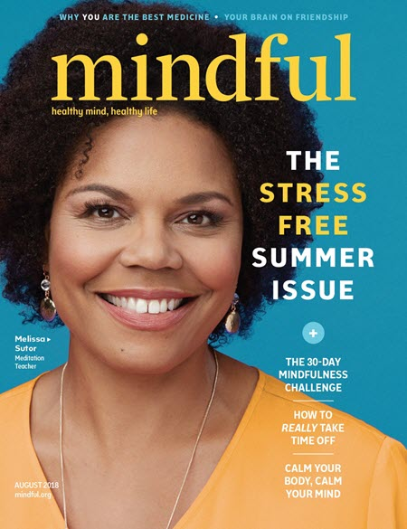 The front page of the August 2018 issue of Mindful magazine