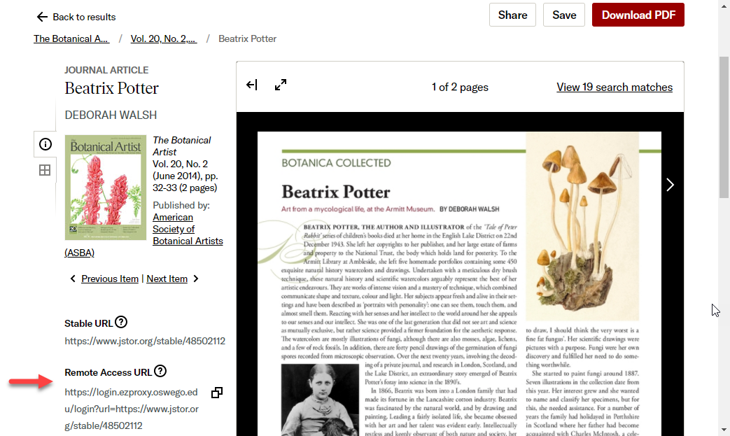 A screenshot of a JSTOR article page, with an arrow pointing to the remote access URL