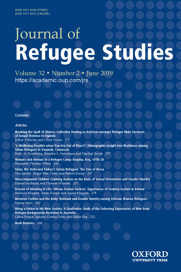 The cover of volume 32, issue 2 of the Journal of Refugee Studies