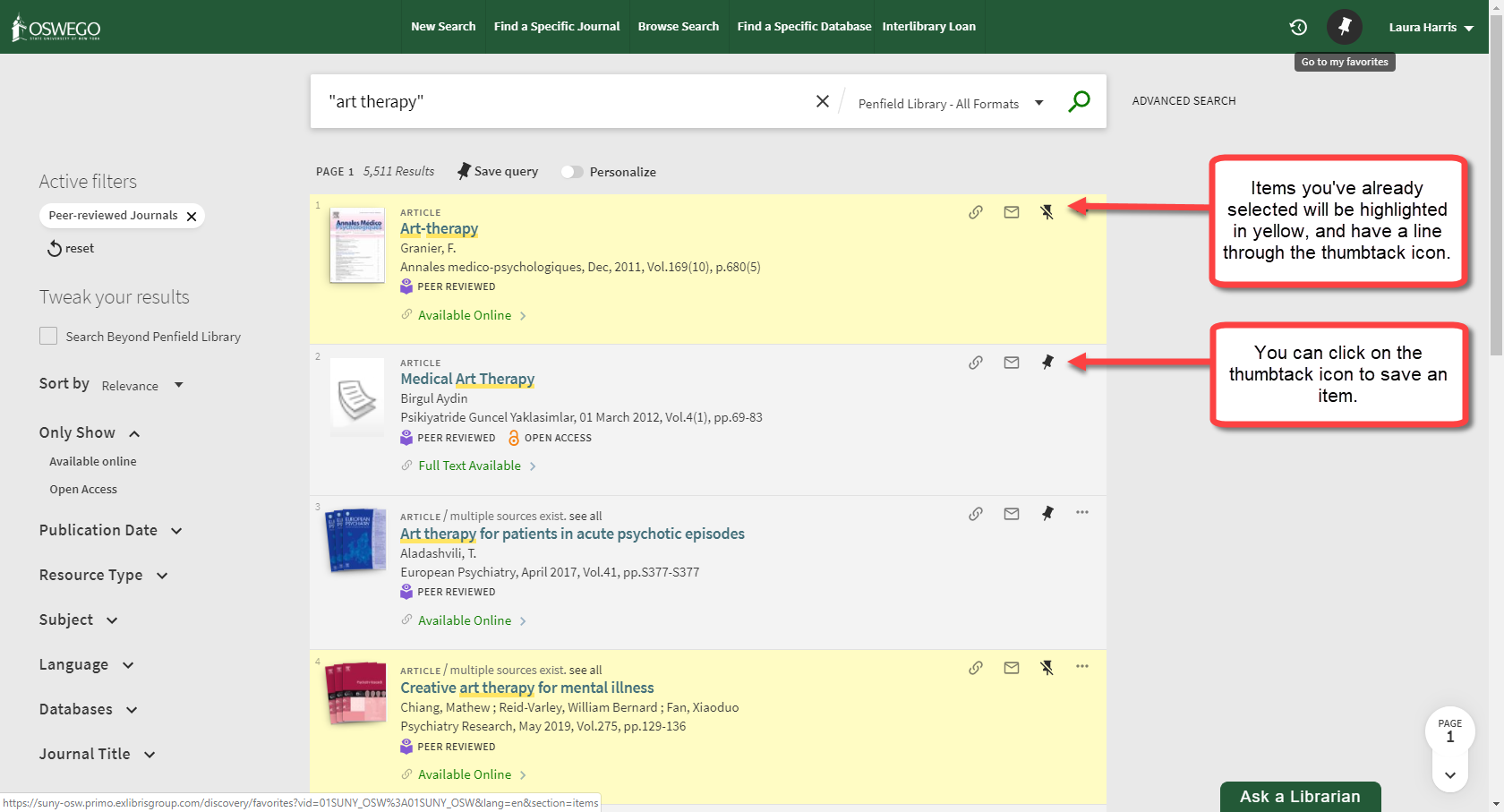 Screenshot of Primo search results page with arrows pointing to thumbtack icons