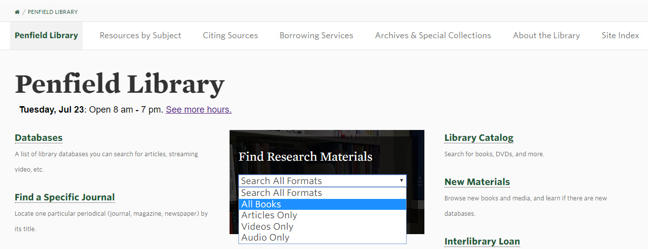Screenshot of library homepage, with dropdown menu showing for main search box on page
