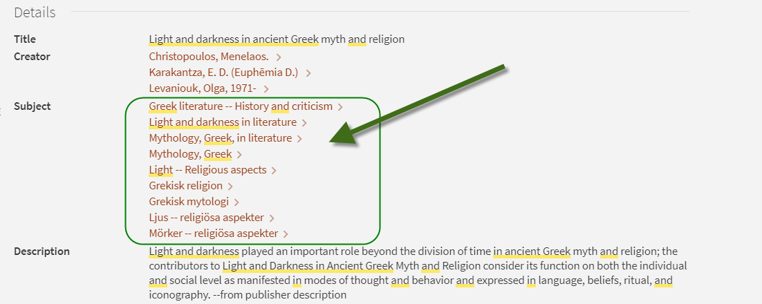 Screen shot of catalog details for book: Light and Darkness in Ancient Greek myth and religion.