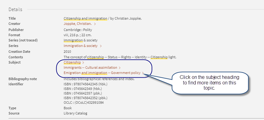 Screen shot of catalog record for book Citizenship and Immigration that highlights subject heading links.
