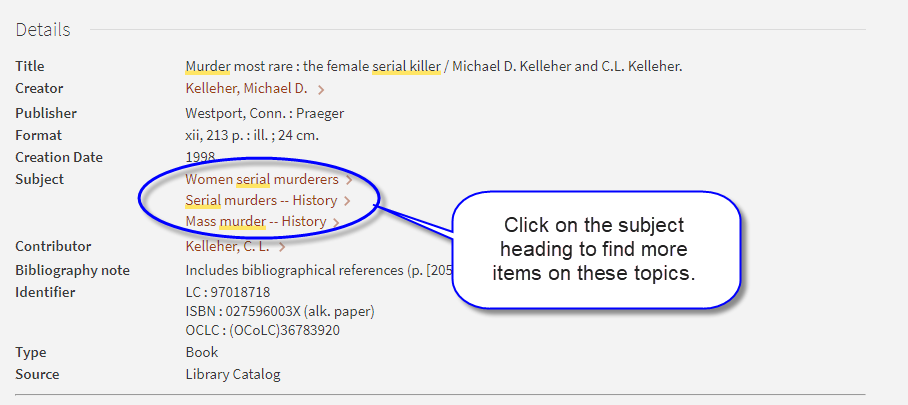 Screen shot of catalog record for book Murder Most Rare with subject headings highlighted.